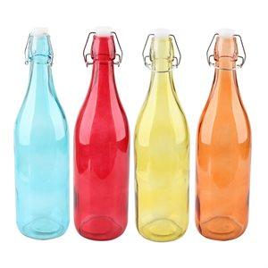 IDEAL KITCHEN GLASS BOTTLE 1L STOPPER CAP COLOURS